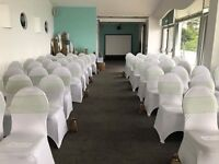 100 LYCRA WHITE CHAIR COVERS FOR WEDDINGS PARTIES EVENTS ETC
