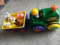 Tractor with driver and 5 Animals
