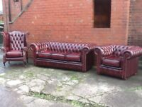 LEATHER CHESTERFIELD 3 PIECE SUITE ANTIQUE OXBLOOD RED LEATHER TIMELESS FURNITURE CAN DELIVER