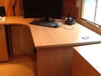 Office corner desk and cupboards