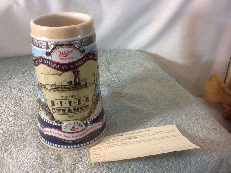 MILLER HIGH LIFE The First River Steamer 1807 Great American Achievements Stein