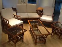 A graves cane furniture Settee 2chairs 3 tables