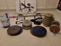 Weights Bench + Full Gym + accessories