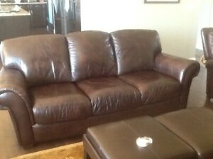 Brown chocolate leather sofa from Ashley Furniture