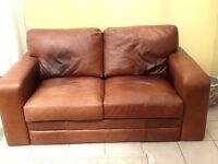 Large 2 Seater Leather Settee. Mid Brown