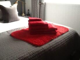 Towels and bath mat
