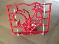 RED METAL RECIPE BOOK HOLDER ROOSTER PATTERN