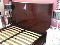 Loverly king size bed frame with large headboard and a side panel new from furniture village