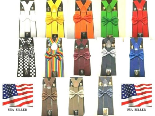 "New Extra Wide Suspender And Bow Tie Elastic Y-shape 1.5"" Wide Suspender"