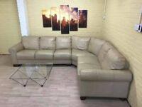 Contemporary Large Beige Leather Corner Sofa