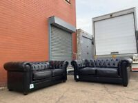 Black leather Chesterfield sofas delivery 🚚 sofa suite couch furniture