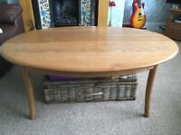 Ercol Oval Coffee Table. Light Elm. Very Good condition