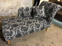 New Floral Fabric Chaise Longue - Charcoal