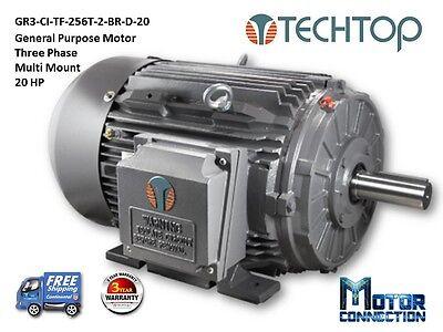20 Hp Electric Motor Gen Purp 3600 Rpm 3-phase 256t Cast Iron Nema Premium