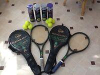 Tennis rackets and tennis balls