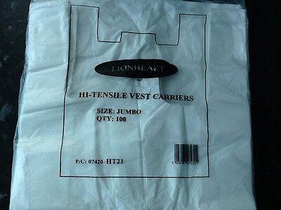 White Plastic Vest Carrier Bags 12x18x24 x 100 Lionheart