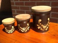 Vintage Denby Bakewell - 3x lidded kitchen containers