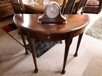 Wood half moon console table Copley Mill LOW COST MOVES 2nd Hand Furniture STALYBRIDGE SK15 3DN
