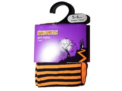 Black And Orange Striped Tights (Girl's Ex Store Halloween Tights Black and Orange)