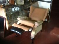 Queen Anne wing back fabric reclining chair good condition