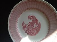 Late 1700's pair of antique plates in burgundy and white.
