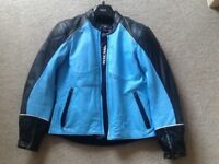 Ladies leather motorcycle jacket, size 10, as new, Richa, armoured, beautiful light blue and black