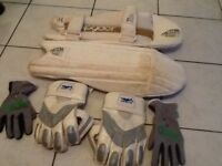 Cricket wicket keeping gloves, inners and pads