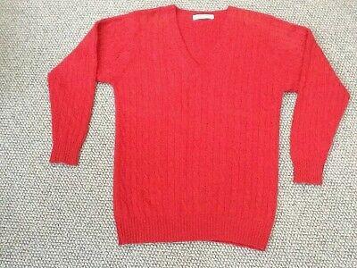 """JOHNSTONS of ELGIN 100% Cashmere Cable Knit V-Neck Dark Red Jumper Sz M 40""""102cm"""