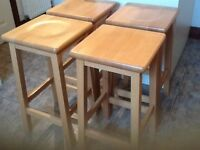 4 Solid wood kitchen stools