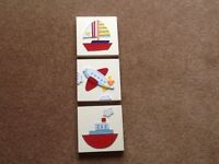 3 SMALL SQUARE CANVAS & WOODEN FRAMED PICTURES WITH FELT STITCHED PIECES, YACHT, BOAT & PLANE