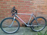 Mountain bike (no saddle) with lock/lights/pump