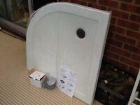 NEW Bathstore white quadrant 900 shower tray & waste
