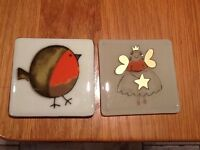 Christmas themed coasters. Hand made fused glass. £5 each