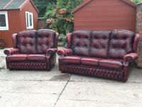 Leather chesterfield high back suite 3 seater and 2 seater sofa set oxblood red leather can deliver