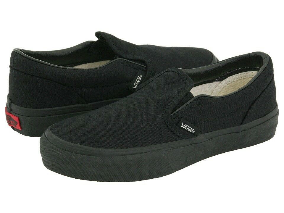Vans All Black Classic Slip On Mens Womens Canvas Skates Shoes All Sizes