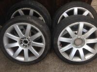 "4 X 18"" AUDI/VW ALLOYS AND TYRES 5 X 100/112 ET35 8J MULTI FIT..."