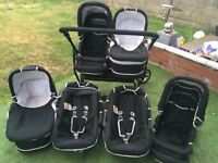 Freestyle twin pram/Pushchair with 2x car seats , 2x pushchairs and 2 x carrycots