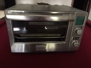 Stainless steel toaster oven.