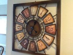 Large Metal Square Rustic Wall Clock