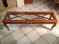 RECTANGULAR GLASS-TOP WOODEN TABLE FOR LOUNGE/HALL/RECEPTION - MATCHING TABLE AVAILABLE!!! Hove