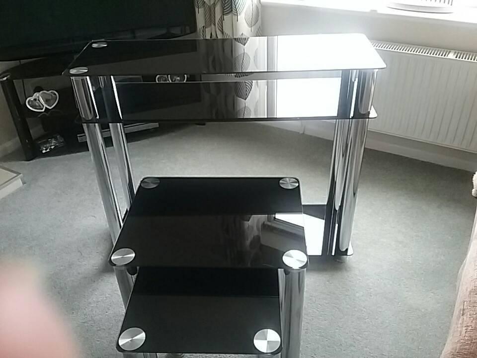 Black glass and chrome furniture