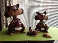 Comical cat pottery money box figures