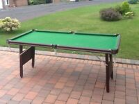 Snooker table, six foot. Good heavy table from Bell Automatics, Hillington.