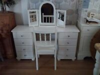 Beautiful Solid Pine Shabby chic Painted Dressing Table, mirror and chair set