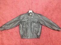 *New* Mens black leather bomber jacket by MDK, size Medium/Large