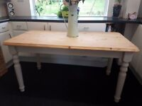 Country Farmhouse Painted Pine Kitchen Dining Table with Stripped Top