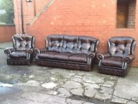 ANTIQUE BROWN LEATHER CHESTERFIELD 3 PIECE SUITE HIGH BACK FOR ADDED COMFORT LOVELY SUITE CAN DELIVE