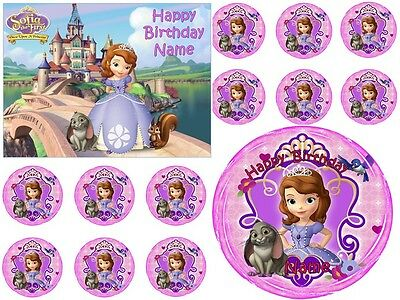 EDIBLE CAKE IMAGE SOFIA THE FIRST ICING SHEET PARTY TOPPER CUPCAKES DECORATION   - Sofia The First Cupcake Cake
