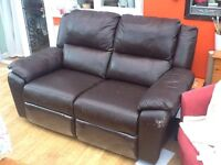Two seater faux leather recliner sofa
