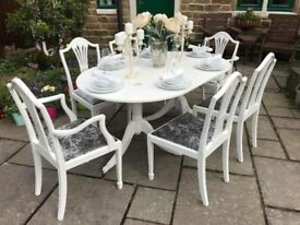 Dining Table & 6 Chairs ~ SILVER GREY CRUSHED VELVET SEATS